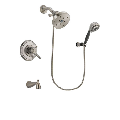 Delta Cassidy Stainless Steel Finish Dual Control Tub and Shower Faucet System Package with 5-1/2 inch Shower Head and 5-Setting Wall Mount Personal Handheld Shower Includes Rough-in Valve and Tub Spout DSP2055V