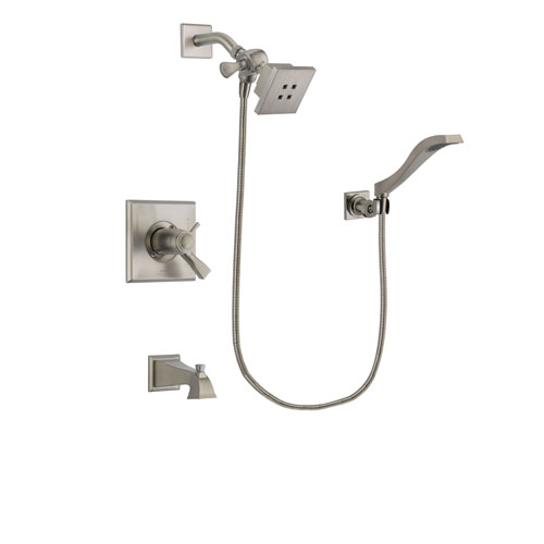 Delta Dryden Stainless Steel Finish Thermostatic Tub and Shower Faucet System Package with Square Showerhead and Modern Wall Mount Handheld Shower Spray Includes Rough-in Valve and Tub Spout DSP2057V
