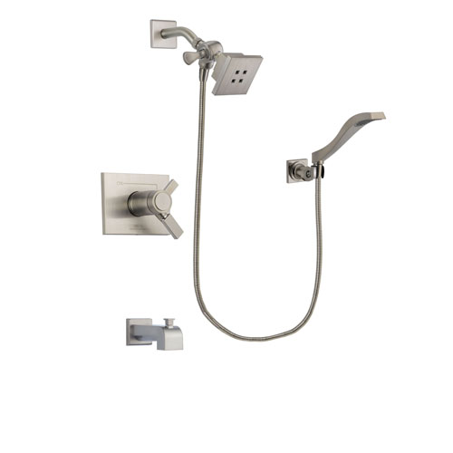 Delta Vero Stainless Steel Finish Thermostatic Tub and Shower Faucet System Package with Square Showerhead and Modern Wall Mount Handheld Shower Spray Includes Rough-in Valve and Tub Spout DSP2059V