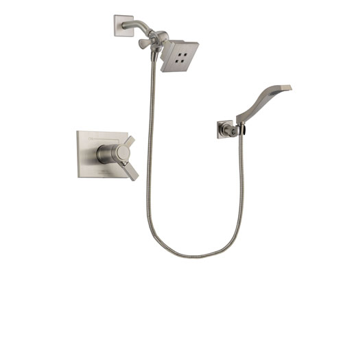 Delta Vero Stainless Steel Finish Thermostatic Shower Faucet System Package with Square Showerhead and Modern Wall Mount Handheld Shower Spray Includes Rough-in Valve DSP2060V