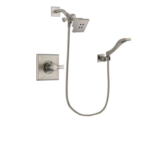Delta Dryden Stainless Steel Finish Shower Faucet System Package with Square Showerhead and Modern Wall Mount Handheld Shower Spray Includes Rough-in Valve DSP2064V