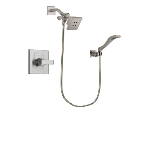 Delta Arzo Stainless Steel Finish Shower Faucet System Package with Square Showerhead and Modern Wall Mount Handheld Shower Spray Includes Rough-in Valve DSP2068V