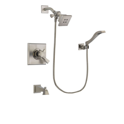 Delta Dryden Stainless Steel Finish Dual Control Tub and Shower Faucet System Package with Square Showerhead and Modern Wall Mount Handheld Shower Spray Includes Rough-in Valve and Tub Spout DSP2069V