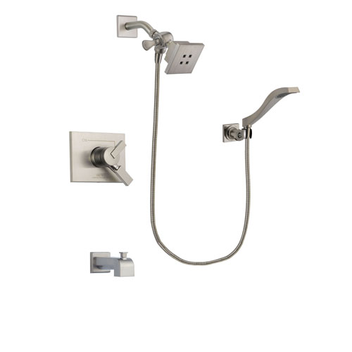 Delta Vero Stainless Steel Finish Dual Control Tub and Shower Faucet System Package with Square Showerhead and Modern Wall Mount Handheld Shower Spray Includes Rough-in Valve and Tub Spout DSP2071V