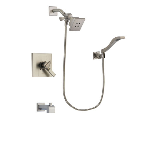 Delta Arzo Stainless Steel Finish Dual Control Tub and Shower Faucet System Package with Square Showerhead and Modern Wall Mount Handheld Shower Spray Includes Rough-in Valve and Tub Spout DSP2073V