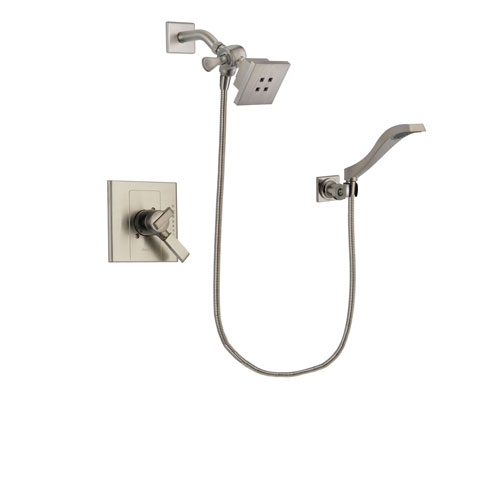 Delta Arzo Stainless Steel Finish Dual Control Shower Faucet System Package with Square Showerhead and Modern Wall Mount Handheld Shower Spray Includes Rough-in Valve DSP2074V
