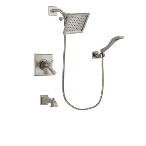 Delta Dryden Stainless Steel Finish Thermostatic Tub and Shower Faucet System Package with 6.5-inch Square Rain Showerhead and Modern Wall Mount Handheld Shower Spray Includes Rough-in Valve and Tub Spout DSP2075V