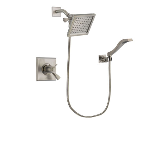 Delta Dryden Stainless Steel Finish Thermostatic Shower Faucet System Package with 6.5-inch Square Rain Showerhead and Modern Wall Mount Handheld Shower Spray Includes Rough-in Valve DSP2076V
