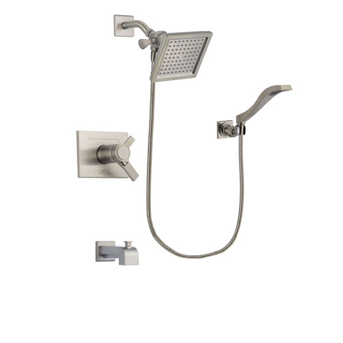 Delta Vero Stainless Steel Finish Thermostatic Tub and Shower Faucet System Package with 6.5-inch Square Rain Showerhead and Modern Wall Mount Handheld Shower Spray Includes Rough-in Valve and Tub Spout DSP2077V