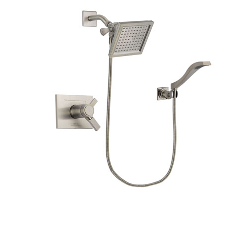 Delta Vero Stainless Steel Finish Thermostatic Shower Faucet System Package with 6.5-inch Square Rain Showerhead and Modern Wall Mount Handheld Shower Spray Includes Rough-in Valve DSP2078V