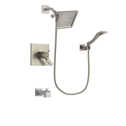 Delta Arzo Stainless Steel Finish Thermostatic Tub and Shower Faucet System Package with 6.5-inch Square Rain Showerhead and Modern Wall Mount Handheld Shower Spray Includes Rough-in Valve and Tub Spout DSP2079V