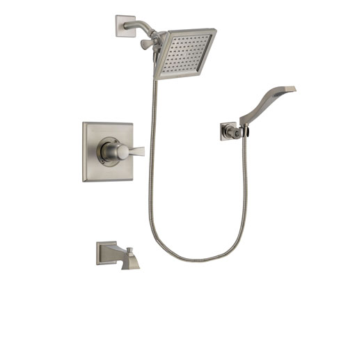 Delta Dryden Stainless Steel Finish Tub and Shower Faucet System Package with 6.5-inch Square Rain Showerhead and Modern Wall Mount Handheld Shower Spray Includes Rough-in Valve and Tub Spout DSP2081V