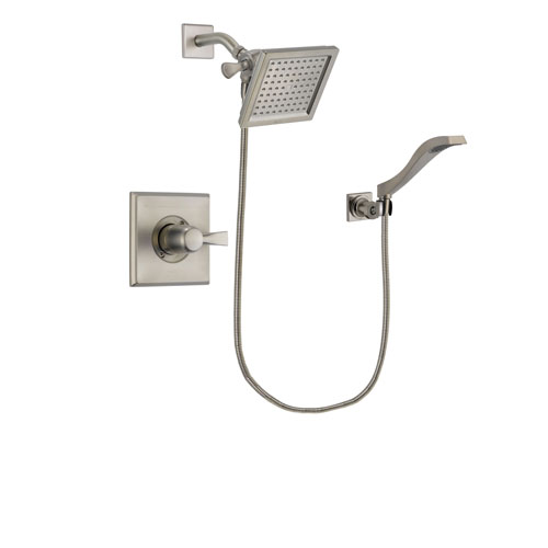 Delta Dryden Stainless Steel Finish Shower Faucet System Package with 6.5-inch Square Rain Showerhead and Modern Wall Mount Handheld Shower Spray Includes Rough-in Valve DSP2082V
