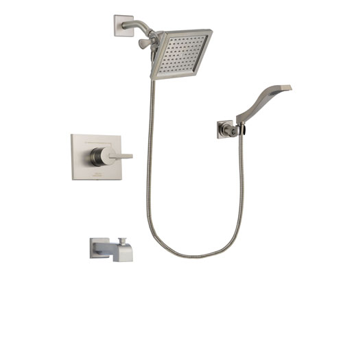 Delta Vero Stainless Steel Finish Tub and Shower Faucet System Package with 6.5-inch Square Rain Showerhead and Modern Wall Mount Handheld Shower Spray Includes Rough-in Valve and Tub Spout DSP2083V