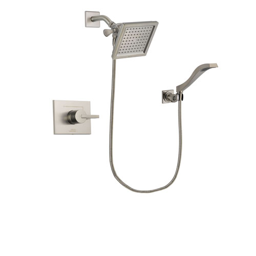Delta Vero Stainless Steel Finish Shower Faucet System Package with 6.5-inch Square Rain Showerhead and Modern Wall Mount Handheld Shower Spray Includes Rough-in Valve DSP2084V