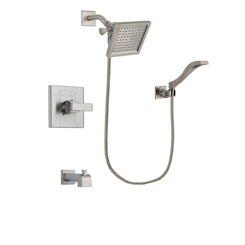 Delta Arzo Stainless Steel Finish Tub and Shower Faucet System Package with 6.5-inch Square Rain Showerhead and Modern Wall Mount Handheld Shower Spray Includes Rough-in Valve and Tub Spout DSP2085V