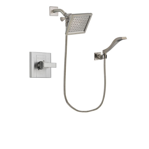 Delta Arzo Stainless Steel Finish Shower Faucet System Package with 6.5-inch Square Rain Showerhead and Modern Wall Mount Handheld Shower Spray Includes Rough-in Valve DSP2086V
