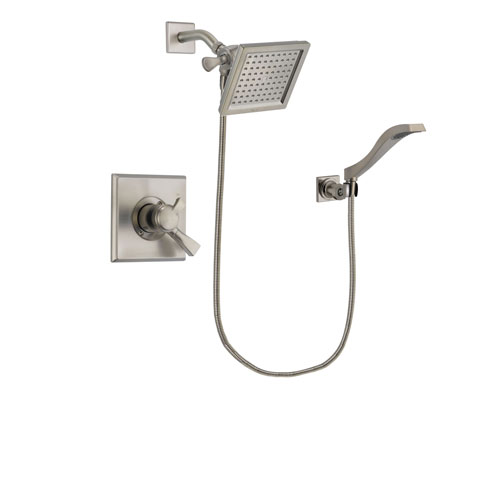Delta Dryden Stainless Steel Finish Dual Control Shower Faucet System Package with 6.5-inch Square Rain Showerhead and Modern Wall Mount Handheld Shower Spray Includes Rough-in Valve DSP2088V