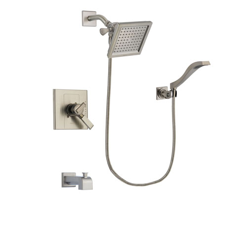 Delta Arzo Stainless Steel Finish Dual Control Tub and Shower Faucet System Package with 6.5-inch Square Rain Showerhead and Modern Wall Mount Handheld Shower Spray Includes Rough-in Valve and Tub Spout DSP2091V
