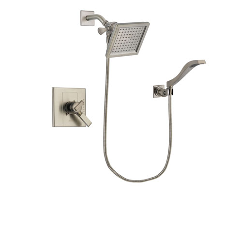 Delta Arzo Stainless Steel Finish Dual Control Shower Faucet System Package with 6.5-inch Square Rain Showerhead and Modern Wall Mount Handheld Shower Spray Includes Rough-in Valve DSP2092V