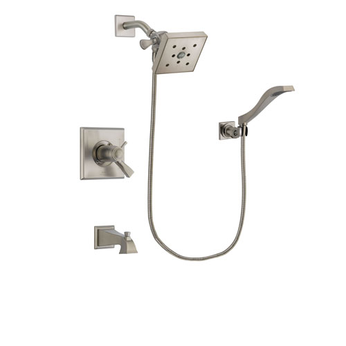 Delta Dryden Stainless Steel Finish Thermostatic Tub and Shower Faucet System Package with Square Shower Head and Modern Wall Mount Handheld Shower Spray Includes Rough-in Valve and Tub Spout DSP2093V