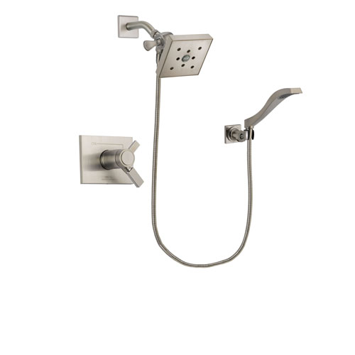 Delta Vero Stainless Steel Finish Thermostatic Shower Faucet System Package with Square Shower Head and Modern Wall Mount Handheld Shower Spray Includes Rough-in Valve DSP2096V