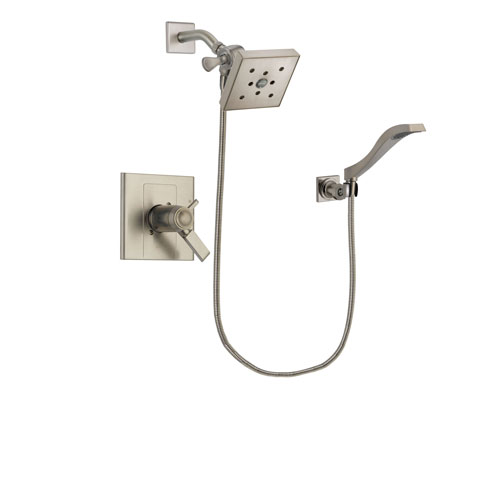 Delta Arzo Stainless Steel Finish Thermostatic Shower Faucet System Package with Square Shower Head and Modern Wall Mount Handheld Shower Spray Includes Rough-in Valve DSP2098V