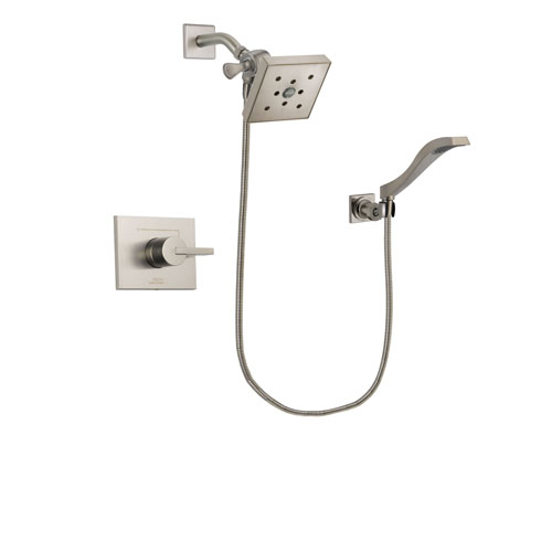 Delta Vero Stainless Steel Finish Shower Faucet System Package with Square Shower Head and Modern Wall Mount Handheld Shower Spray Includes Rough-in Valve DSP2102V