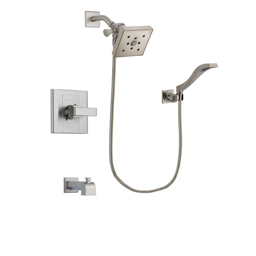 Delta Arzo Stainless Steel Finish Tub and Shower Faucet System Package with Square Shower Head and Modern Wall Mount Handheld Shower Spray Includes Rough-in Valve and Tub Spout DSP2103V