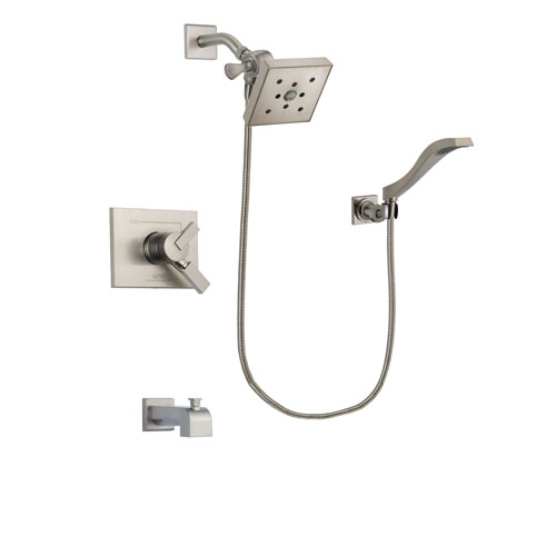 Delta Vero Stainless Steel Finish Dual Control Tub and Shower Faucet System Package with Square Shower Head and Modern Wall Mount Handheld Shower Spray Includes Rough-in Valve and Tub Spout DSP2107V