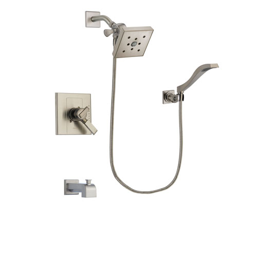 Delta Arzo Stainless Steel Finish Dual Control Tub and Shower Faucet System Package with Square Shower Head and Modern Wall Mount Handheld Shower Spray Includes Rough-in Valve and Tub Spout DSP2109V