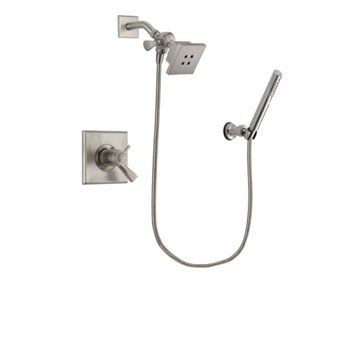 Delta Dryden Stainless Steel Finish Thermostatic Shower Faucet System Package with Square Showerhead and Modern Handheld Shower Spray Includes Rough-in Valve DSP2112V