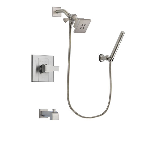 Delta Arzo Stainless Steel Finish Tub and Shower Faucet System Package with Square Showerhead and Modern Handheld Shower Spray Includes Rough-in Valve and Tub Spout DSP2121V