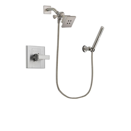 Delta Arzo Stainless Steel Finish Shower Faucet System Package with Square Showerhead and Modern Handheld Shower Spray Includes Rough-in Valve DSP2122V