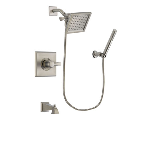 Delta Dryden Stainless Steel Finish Tub and Shower Faucet System Package with 6.5-inch Square Rain Showerhead and Modern Handheld Shower Spray Includes Rough-in Valve and Tub Spout DSP2135V