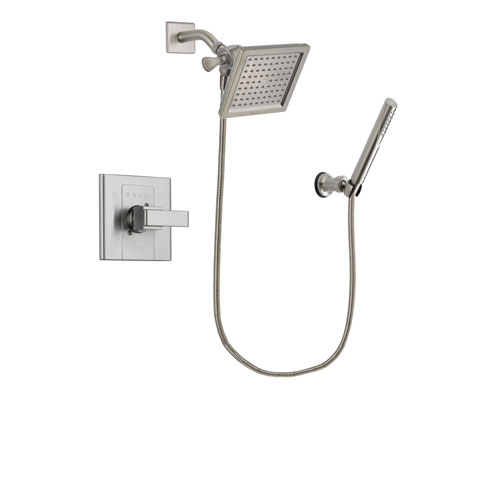 Delta Arzo Stainless Steel Finish Shower Faucet System Package with 6.5-inch Square Rain Showerhead and Modern Handheld Shower Spray Includes Rough-in Valve DSP2140V
