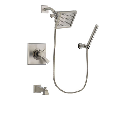 Delta Dryden Stainless Steel Finish Dual Control Tub and Shower Faucet System Package with 6.5-inch Square Rain Showerhead and Modern Handheld Shower Spray Includes Rough-in Valve and Tub Spout DSP2141V
