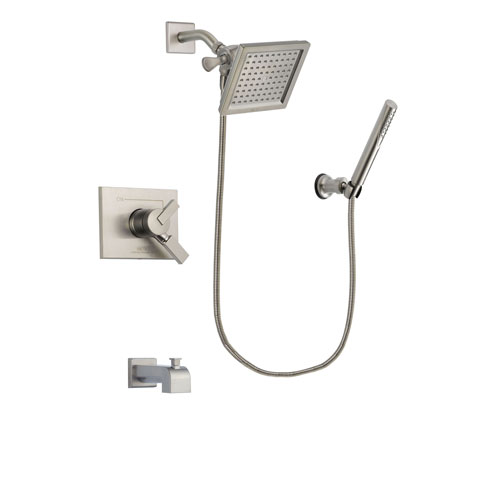 Delta Vero Stainless Steel Finish Dual Control Tub and Shower Faucet System Package with 6.5-inch Square Rain Showerhead and Modern Handheld Shower Spray Includes Rough-in Valve and Tub Spout DSP2143V