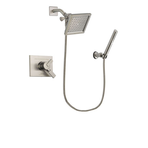 Delta Vero Stainless Steel Finish Dual Control Shower Faucet System Package with 6.5-inch Square Rain Showerhead and Modern Handheld Shower Spray Includes Rough-in Valve DSP2144V
