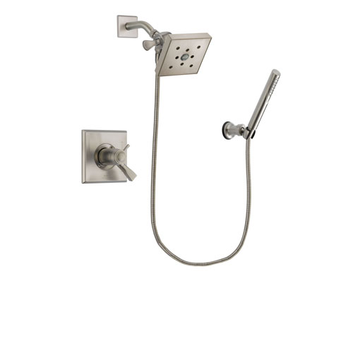 Delta Dryden Stainless Steel Finish Thermostatic Shower Faucet System Package with Square Shower Head and Modern Handheld Shower Spray Includes Rough-in Valve DSP2148V