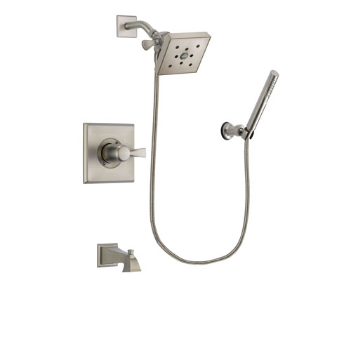 Delta Dryden Stainless Steel Finish Tub and Shower Faucet System Package with Square Shower Head and Modern Handheld Shower Spray Includes Rough-in Valve and Tub Spout DSP2153V
