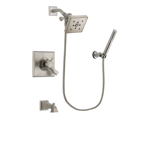 Delta Dryden Stainless Steel Finish Dual Control Tub and Shower Faucet System Package with Square Shower Head and Modern Handheld Shower Spray Includes Rough-in Valve and Tub Spout DSP2159V