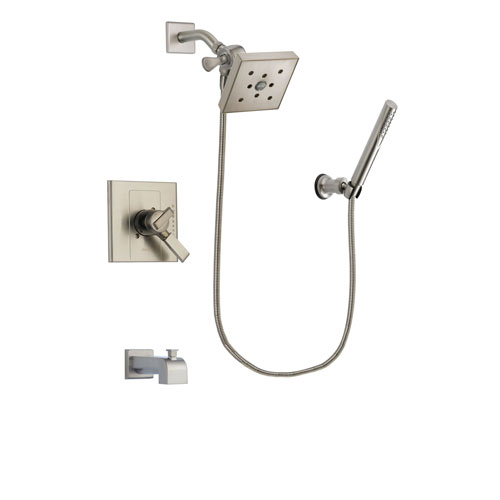 Delta Arzo Stainless Steel Finish Dual Control Tub and Shower Faucet System Package with Square Shower Head and Modern Handheld Shower Spray Includes Rough-in Valve and Tub Spout DSP2163V