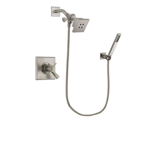 Delta Dryden Stainless Steel Finish Thermostatic Shower Faucet System Package with Square Showerhead and Wall-Mount Handheld Shower Stick Includes Rough-in Valve DSP2166V