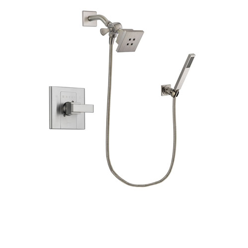 Delta Arzo Stainless Steel Finish Shower Faucet System Package with Square Showerhead and Wall-Mount Handheld Shower Stick Includes Rough-in Valve DSP2176V