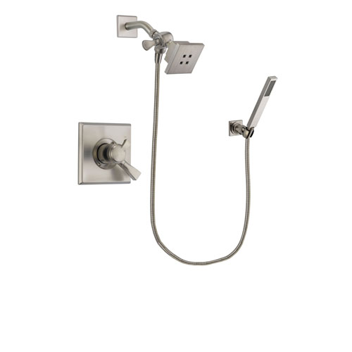Delta Dryden Stainless Steel Finish Dual Control Shower Faucet System Package with Square Showerhead and Wall-Mount Handheld Shower Stick Includes Rough-in Valve DSP2178V