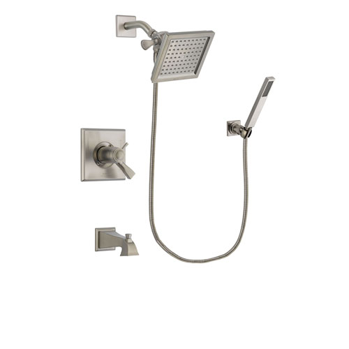Delta Dryden Stainless Steel Finish Thermostatic Tub and Shower Faucet System Package with 6.5-inch Square Rain Showerhead and Wall-Mount Handheld Shower Stick Includes Rough-in Valve and Tub Spout DSP2183V