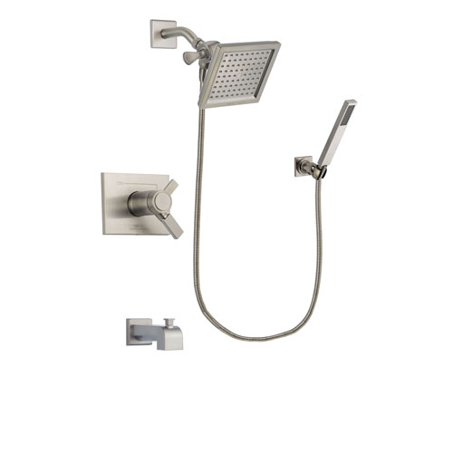 Delta Vero Stainless Steel Finish Thermostatic Tub and Shower Faucet System Package with 6.5-inch Square Rain Showerhead and Wall-Mount Handheld Shower Stick Includes Rough-in Valve and Tub Spout DSP2185V