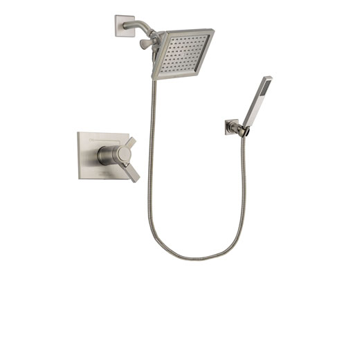 Delta Vero Stainless Steel Finish Thermostatic Shower Faucet System Package with 6.5-inch Square Rain Showerhead and Wall-Mount Handheld Shower Stick Includes Rough-in Valve DSP2186V