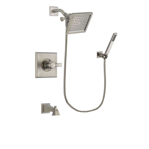 Delta Dryden Stainless Steel Finish Tub and Shower Faucet System Package with 6.5-inch Square Rain Showerhead and Wall-Mount Handheld Shower Stick Includes Rough-in Valve and Tub Spout DSP2189V